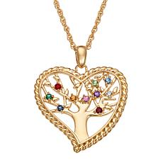 Family Heart Birthstone Crystal Pendant