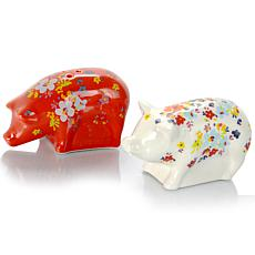"Farm Heart 4"" Figural Salt & Pepper Set, Pig Shape"