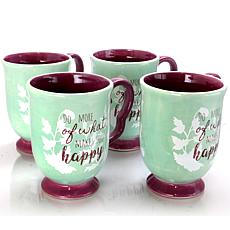 Farm Heart 4 Piece Set of 18.75 oz Footed Cups in Coral Inspiration...