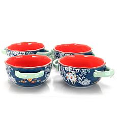 "Farm Heart 4 Piece Set of 6"" Soup Bowls in Blue"