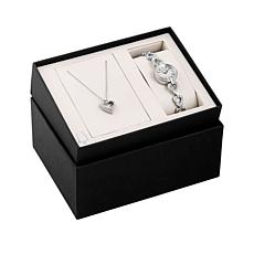 fBulova Crystal-Accented  Heart Watch and Necklace Set