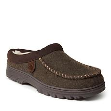 Fireside by Dearfoams Men's Lith Microwool and Shearling Moc Toe Clog