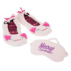 Foot Petals Critter Ballet Slipper and Sleep Mask Set