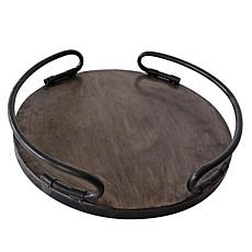 """Foreside Home and Garden 14"""" x 14"""" Round Metal Decorative Tray"""