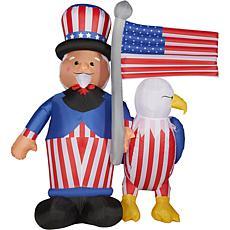Fraser Hill Farm 10' Inflatable Uncle Sam, Bald Eagle, Flag w/ Lights