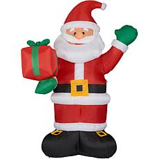 Fraser Hill Farm 10' Santa Holding Gift Inflatable w Lights and Bag