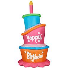 Fraser Hill Farm 12' Inflatable Birthday Cake w/ Lights & Storage Bag