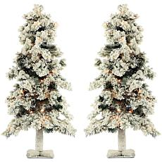 Fraser Hill Farm 2' Snowy Alpine Trees with Clear Lights - Set of 2