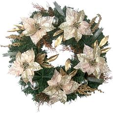 "Fraser Hill Farm 24"" Christmas Wreath w Poinsettias Ornaments&Berries"