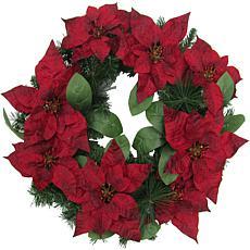 """Fraser Hill Farm 24"""" Christmas Wreath w Velvet Poinsettias and Leaves"""