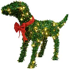 """Fraser Hill Farm 28"""" Boxwood Pup Topiary Statue w/Warm White LEDs"""