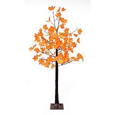 Fraser Hill Farm Pre-Lit 5' Maple Tree Multi-Hue Orange Leaves w/ Base