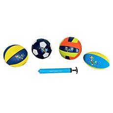 Funphix Set of 4 Balls w/ Pump - Soccer, Rugby, Basketball, Volleyball