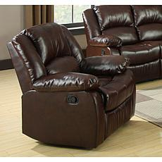 Furniture of America Justeen Bonded Leather Recliner - Rustic Brown