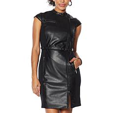 G by Giuliana Black Label Faux Leather Dress