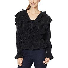 G by Giuliana Black Label Metallic Crinkle-Knit Ruffle Top