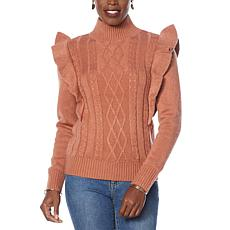 G by Giuliana Black Label Ruffled Cable Knit Sweater