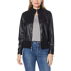 G by Giuliana Faux Leather Bomber Jacket