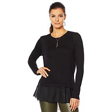 G by Giuliana Lightweight Sweater with Chiffon Hem
