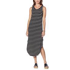 G by Giuliana LounGy EcoLuxe Striped Cutout Tank Dress