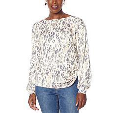 G by Giuliana LounGy Knot-Front Printed Sweatshirt