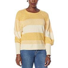 G by Giuliana Marled Stripe Puff-Sleeve Sweater