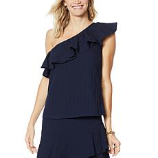 G by Giuliana One-Shoulder Ruffle Tank