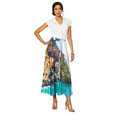 G by Giuliana Photo-Print Pleated Skirt