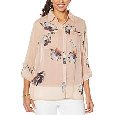 G by Giuliana Printed Ruffle-Pocket Button-Up Shirt