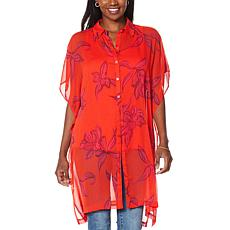 G by Giuliana Printed Sheer Tunic