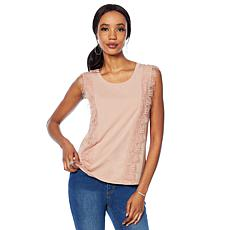G by Giuliana Sleeveless Tee with Lace Trim
