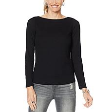 G by Giuliana Space-Dyed Rib Knit Tee