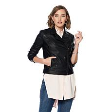 G by Giuliana Ultra Luxe Palm Tree Moto Jacket
