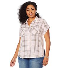 G by Giuliana Woven Plaid Button-Down Top