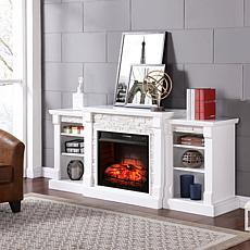 Gallatin Simulated Stone Infrared Fireplace with Bookcases