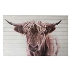 """Gallery 57 Brown Highland Cow 48"""" x 30"""" Print on Wood"""