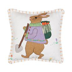 Garden Bunny Needlepoint Pillow