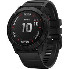 Garmin Fenix 6X Pro GPS Watch in Black with Black Band