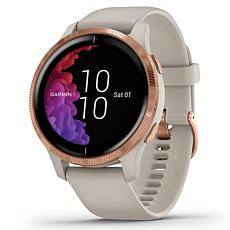 Garmin Venu GPS Smartwatch in Rose Gold and Light Sand