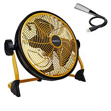 """Geek Aire 12"""" Rechargeable Water-Resistant Fan with LED Light"""