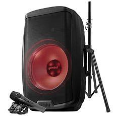 "Gemini 2,000-Watt Active 15"" Multi-LED Bluetooth Speaker w/Stand & Mic"