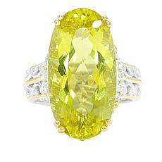 Gems by Michael 18K Goldtone Ouro Verde Quartz and White Zircon Ring