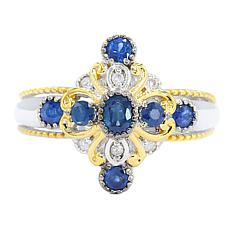 Gems by Michael 18K Goldtone Royal Blue Sapphire and Diamond Ring