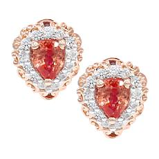 Gems by Michael 18K Rose Goldtone Padparadscha and Gem Stud Earrings