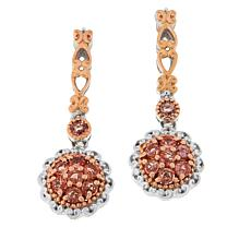 Gems by Michael 18K Rose Goldtone Padparadscha Cluster Drop Earrings