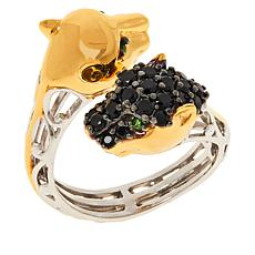 Gems by Michael Black Spinel and Gemstone Panther Bypass Ring
