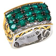 Gems by Michael Grizzly Emerald Three-Row Scrollwork Ring