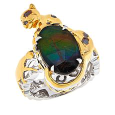 Gems by Michael Multicolor Ammolite Triplet Panther Ring