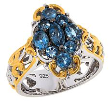 Gems by Michael Sterling Silver Exotic Blue Aquamarine Cluster Ring