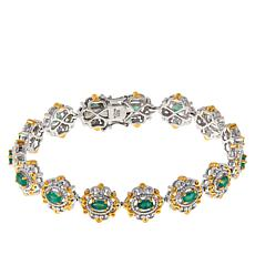 Gems By Michael Sterling Silver Grizzly Emerald Station Bracelet